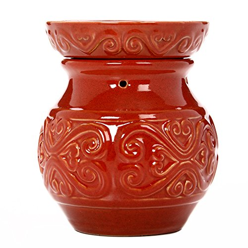 Hosley 6 Inch High Red Ceramic Electric Warmer Ideal Gift for Weddings Spa and Aromatherapy Use Brand Wax Melts Cubes Essential Oils and Fragrance Oils O4
