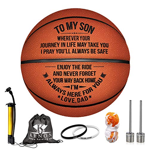 Kenon Engraved Basketball for Son - Personalized Basketball Indoor/Outdoor Game Ball for Son - to My Son Enioy The Ride and Never Forget Your Way Back Home (to My Son from Dad)