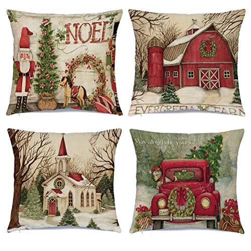 DomoWin Funda de cojín de Navidad, Funda de Almohada Navidad Decorativa de Lino de algodón Fundas de Almohada...