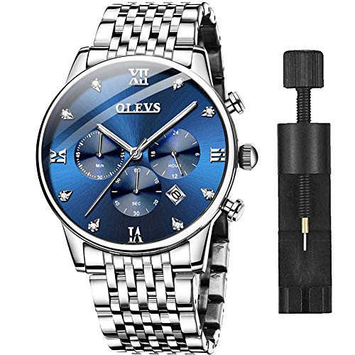 Men's Wrist Watches Stainless Steel Watches with Day and Date Fashion Luxury Big Face Blue Dial Watches for Men,OLEVS Watch Men Casual Classic Quartz Analog Waterproof Chronograph Wristwatch Men's