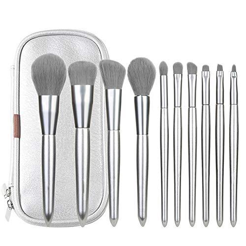 10pcs argent brosse de maquillage multi-fonction brosse beauté maquillage maquillage yeux maquillage cosmétiques fibre artificielle facile à transporter