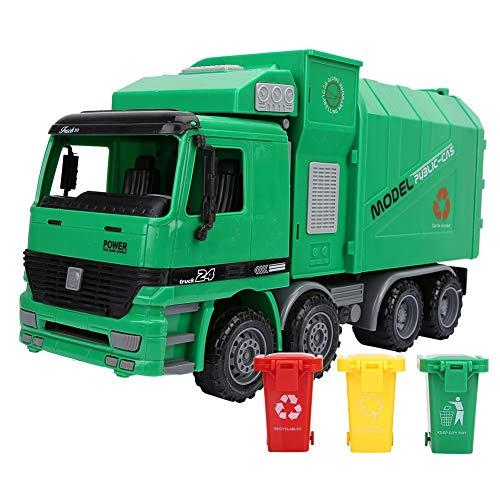 Camión de saneamiento, simulación de niños Inercia Camión de basura Saneamiento Modelo de coche Juguetes con tres basuras