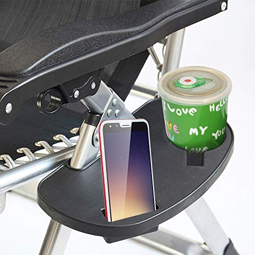 jxjarnet Chair Side Tray Zero Gravity Chair Tray,Clip On Side Table Tray with Mobile Device Slot,Chair Side Cup Holder and Snack Tray for Sun Lounger Camping Chair Garden Fishing Outdoor Activity