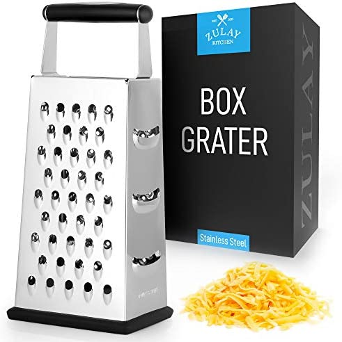 Zulay Large 4 Sided Cheese Grater Stainless Steel Grater With Easy Grip Handle Anti Skid Base product image