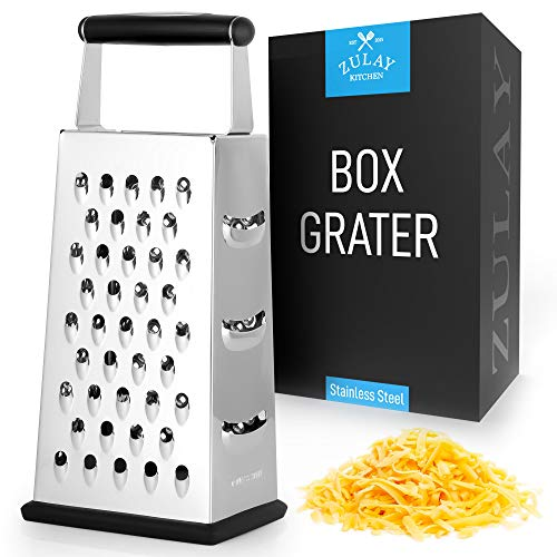 Zulay Large 4Sided Cheese Grater  Stainless Steel Grater With Easy Grip Handle amp AntiSkid Base  Wide Grating Surface Box Grater With Sharp Blades For Parmesan Cheese Ginger Vegetables amp More