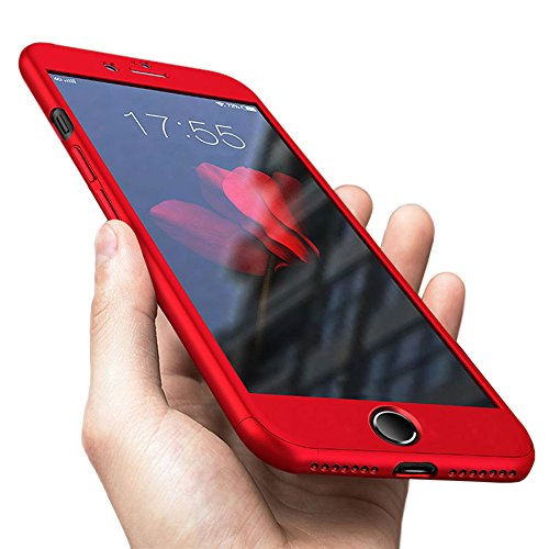 Compatible for iPhone 7 Plus Case. Compatible for iPhone 8 Plus Case. 360 Degree All-Around Full Body Coverage Protective case Resistant with Tempered Glass Screen Protector Design(5.5inch) (Red)