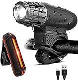 ZHENG Luces Bicicleta Conjunto de luz de Bicicleta Recargable USB, Faros de Bicicleta Luz Trasera Combinaciones Impermeable for Montar por la Noche, Negro