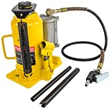 JEGS Bottle Jack | 20-Ton Capacity | Air Assist | Lift Height From 10 7/16 to 20 inches | 52 inch air line length with 1/4 inch NPT fitting