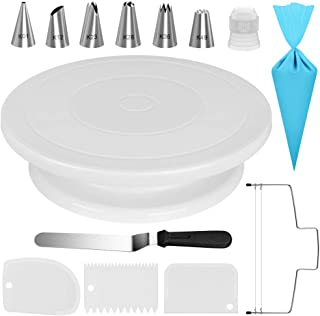 Kootek Cake Decorating Kit Supplies Baking Tools with Cake Turntable, 6 Numbered Cake Decorating Tips, 1 Icing Spatula, 3 Icing Smoother, 1 Silicone Piping Bag, 1 Cake Leveler, 1 Coupler Frosting Set