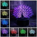 Lámpara de ilusión 3D de luz nocturna estilo pavo real Lámpara de decoración de cambio de color 7 Juguete para niños Regalo de vacaciones Lámpara de atmósfera Cinturón memo