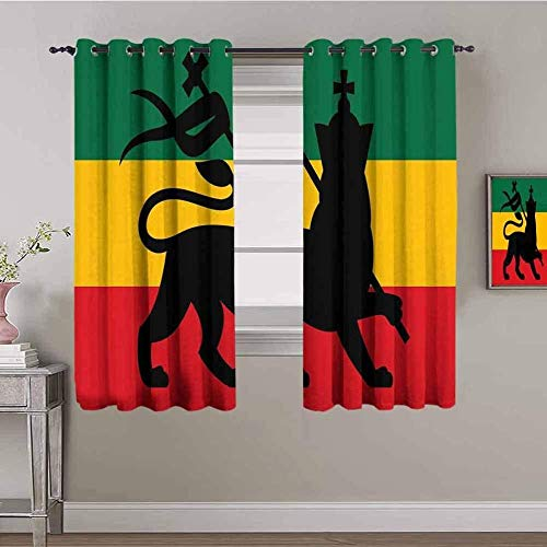 LucaSng Cortinas de Opacas - Color Animal león Bandera - 234x230 cm - para Sala Cuarto Comedor Salon Cocina Habitación - 3D Impresión Digital con Ojales Aislamiento Térmico Cortinas