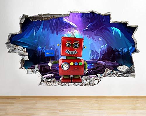 C393 Sticker mural 3D en vinyle Motif robot Hello