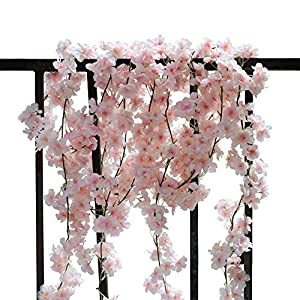 AKSIPO 4Pcs Artificial Cherry Blossom Wall Hanging Cherry Vine Silk Floral Garland Flowers String Fake Flowers Garland for Home Wedding Arch Outdoor Garden Wall Decor Party Decoration