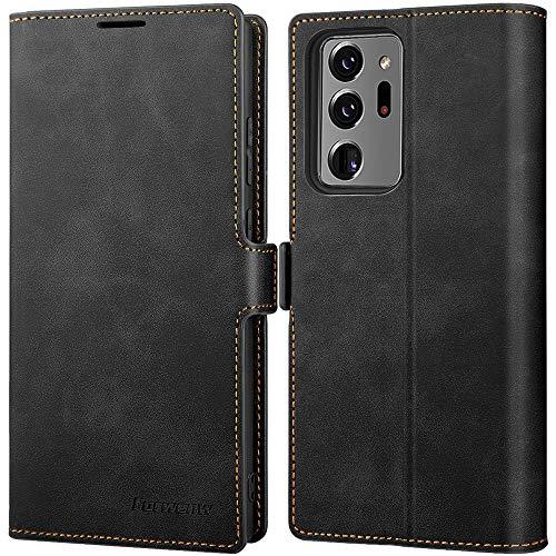 SUZCY Samsung Galaxy Note 20 Ultra Hülle, Handyhülle Samsung Note 20 Ultra [3-Kartenfächer] PU Leder Flip Hülle Note 20 Ultra [Magnetverschluss] [Standfunktion] Note 20 Ultra Tasche 6,9'' Schwarz