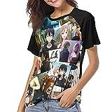 huatongxin Sword Art Online Camiseta de Manga Corta Camiseta de béisbol de Manga Corta para Mujer