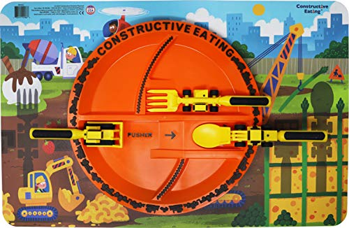 Construction Plate and Construction Worksite Placemat Set of 3 Construction Utensils