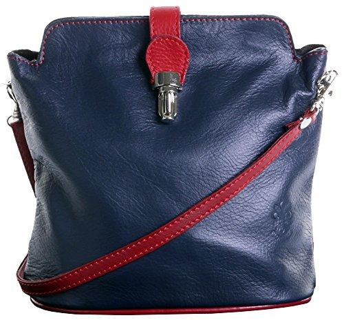 Primo Sacchi Damen Weiches Italienisches Leder handgefertigte verstellbare Riemen Cross Body oder Umhängetasche Handtasche Marineblau und Rot