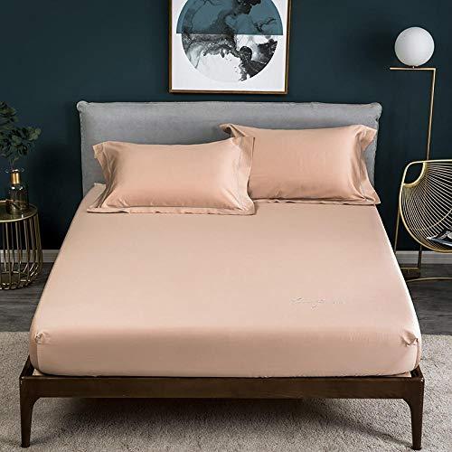 Nuoxuan Se Adapta Perfectamente al colchón,Hojas de Color sólido de algodón Puro, Dormitorio Individual y Doble tamaño King para Hombres y Mujeres-Marrón1_200 * 220cm