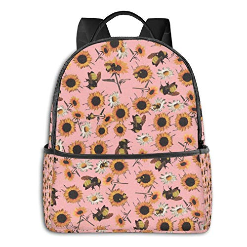 IUBBKI Zaino laterale nero Casual Daypacks Basic Laptop Backpack Stylish Bookbag Durable Bee Sunflowers Summer Holiday Laptop Backpack with Padded Straps for High School College Gift