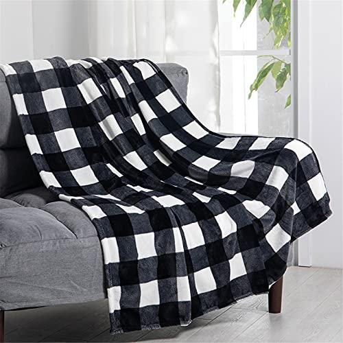 """U UQUI Flannel Blanket Nap Blanket for Couch Buffalo Plaid Check Gingham Velvet Plush Bed Blanket Flannel Fleece All Season Lightweight Blanket, Black and White, 50""""x60"""""""