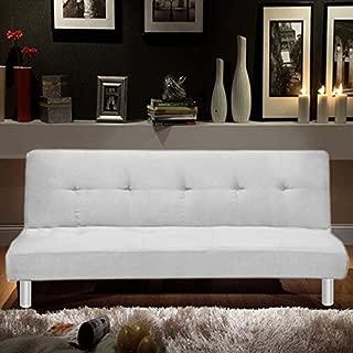 Sofá cama de baño Italia 180x80, 3 plazas de microfibra blanca, sillón reclinable de estilo moderno para salón
