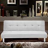 Bagno Italia Sofá Cama 180x80, 3 Puestos de Microfibra Blanca, sillón reclinable de Estilo Moderno para Sala de Estar