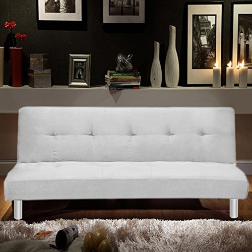 Bagno Italia Divano Letto 180x80 3 posti Microfibra Bianco Stile Moderno recrinabile da Soggiorno Modello Veronica I