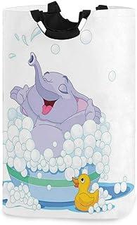 ZOMOY Grand Organiser Paniers pour Vêtements Stockage,Éléphant Prend Un Bain moussant dans Un Bassin avec des Jeux d'eau d...