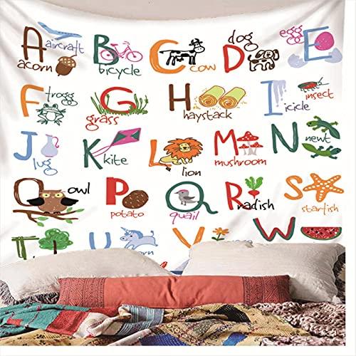 Weibing Tapiz de impresión en Color 3D Alfabeto Animales Frutas Plantas Tapiz Educativo para niños para la decoración del Dormitorio de la Sala de Estar 150(An) x150(H) cm
