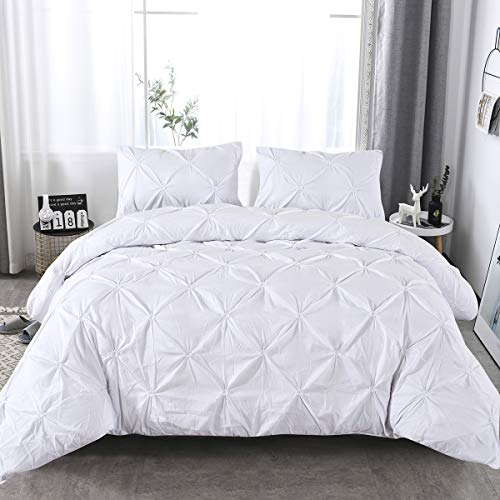 Mefinia Pinch Pleated Bedding Duvet Cover Set with Zipper Closure, 135cm X...