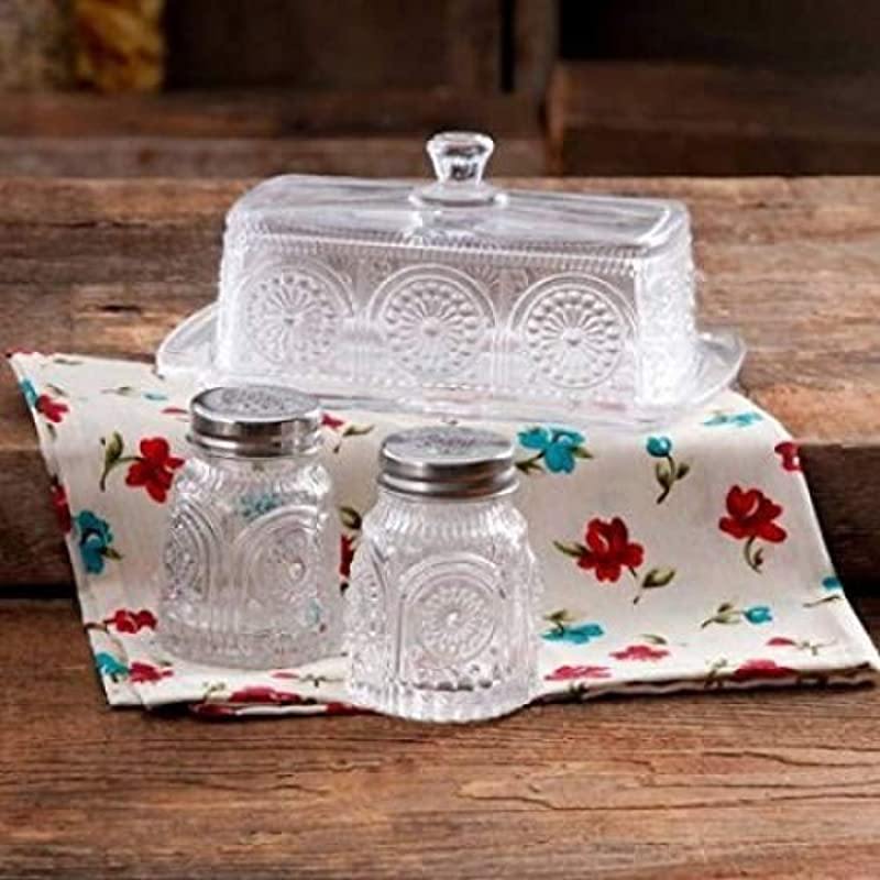 The Pioneer Woman Adeline Glass Butter Dish With Salt And Pepper Shaker Set Clear Stunning Adeline Butter Dish With Salt And Pepper Shaker Set Clear