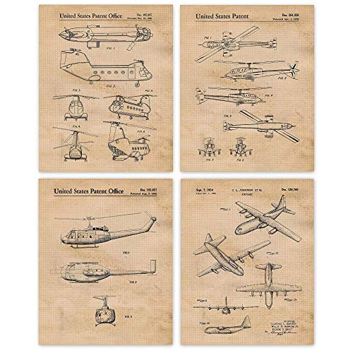 Vintage Military Airplane & Helicopter Patent Poster Prints, Set of 4 (8x10) Unframed Photos, Wall Art Decor Gifts Under 20 for Home, Office, Man Cave, College Student, Teacher, USA & Veterans Fan