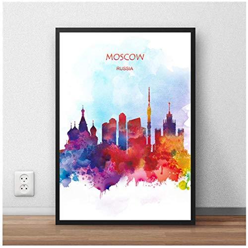 Zhaoyangeng Lienzo Abstracto Moderno Mapa Del Mundo Moscú Ciudad Póster Pintura Imagen Impresa Sala De Estar Café Decoración Del Hogar- 50Cmx70Cm Sin Marco