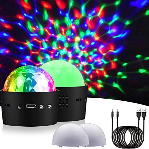 Aerbee Mini LED Discokugel Licht zum Parteien, RGB Wiederaufladbar Ton Aktiviert Strobe Bühnen Disko Partylicht zum Geburtstag Bar KTV Familie Weihnachten (2 Stücke)