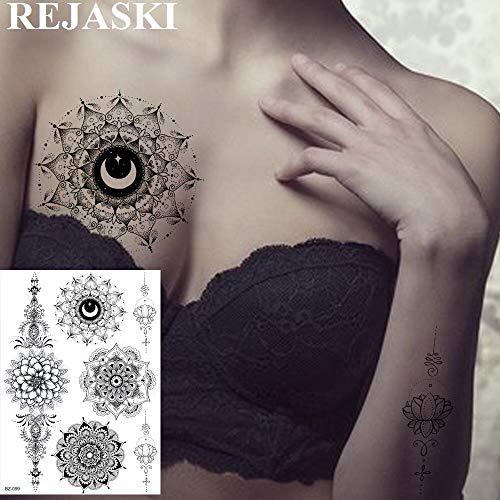 tzxdbh 2 Unids Negro Totem Mandala Flor Mehndi Tatuajes Temporales Realistas Etiqueta Engomada Body Art Tattoo Bandeja de Entrada Personalizada Tatoos
