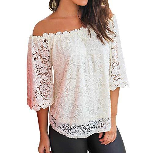 YEBIRAL Damen Bluse Oberteil 3/4Ärmel Schulterfrei Strand Tunika Shirt Elegant Carmenbluse Tops Off Shoulder Kurzarm T-Shirt mit Spitze(EUR-40/CN-L,Weiß)