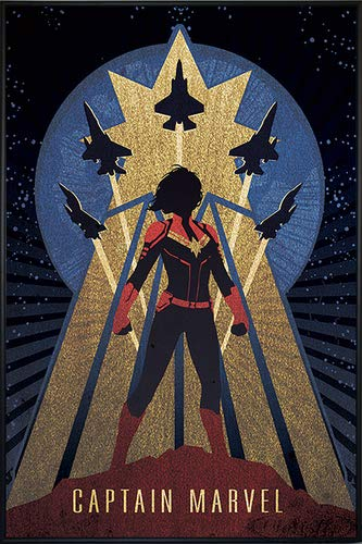 Close Up Captain Marvel Poster Art Deco (93x62 cm) gerahmt in: Rahmen schwarz
