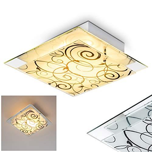 Eckige Deckenlampe florales Dekor, weiß-mattiert/schwarz, Deckenleuchte mit Lampenschirm aus Glas, E27-Fassung, max. 60 Watt, für Wohnzimmer, Schlafzimmer, Küche, Flur