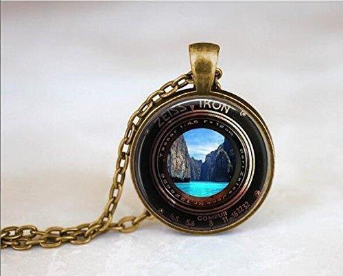 ZEISS IKON - Collar para cámara de fotos de lente, estilo vintage, collar para cámara Steampunk, collar para cascada, collar de playa, collar de playa