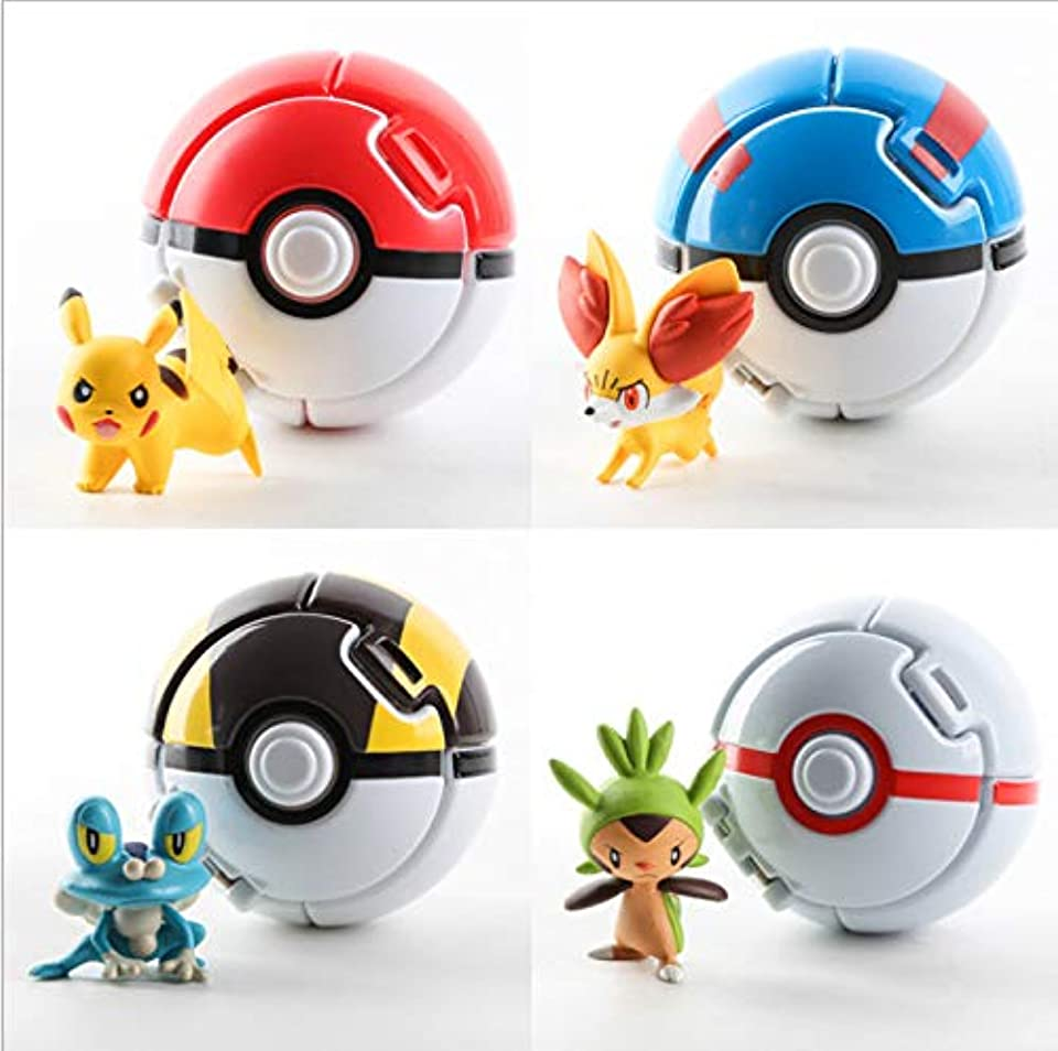 Poké Ball, NALCY 4 Stück Pokeball mit Figur, Pokemon bälle zum werfen, Pokémon Poké Ball Pokeball, Pokemon Mini Figurines für Geburtstag Hochzeit Mädchen Party Dekoration Versorgt