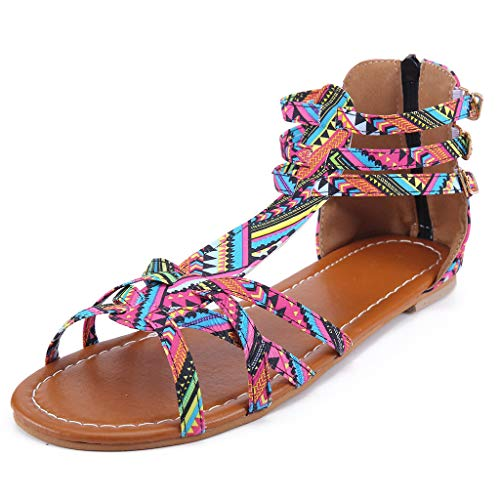 Ansenesna Sandalen Damen Sommer Flach Bunt Boho Vintage Schuhe Offen Reißverschluss Stoff Comfort Sommerschuhe (43, Rosa)