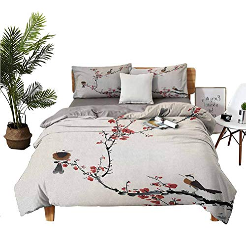 Nature 3 Piece Set Beautifully Printed on The Bed Birds on Cherry Tree Branches Summer Classic Oriental Artful Illustration Easy to Install Breathable and Heat-dissipating Sheets Cal