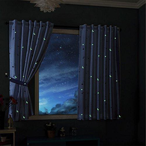 Gardinenbox Vorhang Schal Blickdicht Motiv Sterne Monde fluoreszierend Leuchtend Kinder Kids Schlaufenband Universalband Blau 2 Stück 175x145 (Höhe x Breite cm), 20495