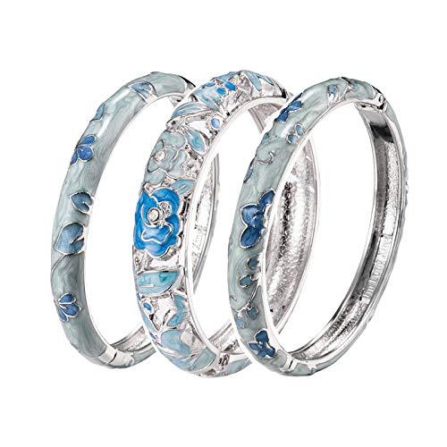 UJOY Schmuckset 3 Stück hellblau Neuheit Armband Armreif Emaille für Frauen Mädchen Geschenkbox