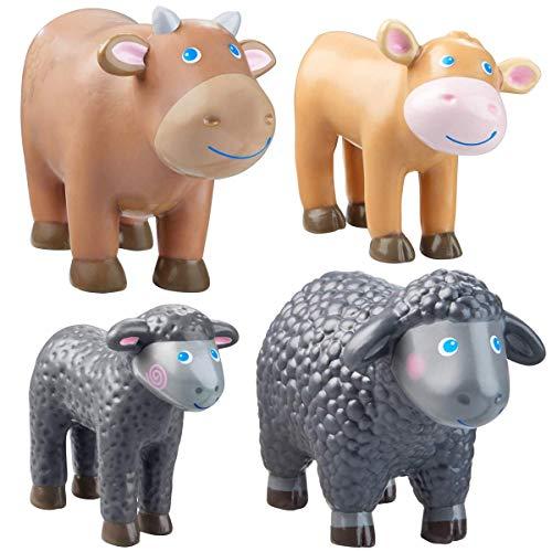 HABA Bauernhoftiere Tiere im Set 4-teilig Little Friends Kuh Kälbchen braun Schaf Lamm schwarz inkl. Geschenkverpackung