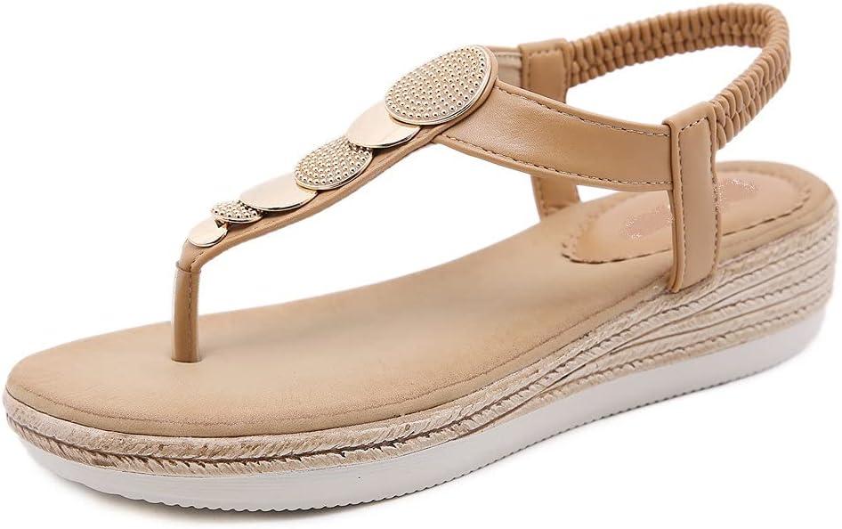 DovSnnx Women's Summer Flat Open Toe Sandals Slip On Flip Flops Sport Wedge Low Heel Shoes with Arch Support Outdoor Slippers Elastic Strap Bohemia Beach Travel Metal Clip Toe Khaki
