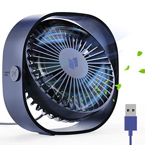 joylink Mini USB Fan Personale, Ventilatore da tavolo portatile elettrica con ventola rotante, 3 velocità Ventilatore da esterno ricaricabile Ventilatore silenzioso per casa, ufficio, viaggio