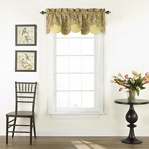 "WAVERLY Valances for Windows - Swept Away 60"" x 18"" Short Curtain Valance Small Window Curtains Bathroom, Living Room and Kitchens, Berry"