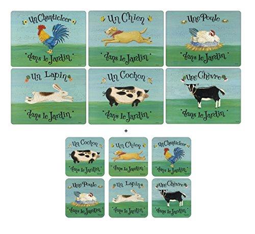 Pimpernel Dans le Jardin, 6 Placemats + 6 Coasters