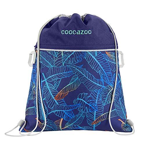 """Coocazoo Sportbeutel RocketPocket """"Jungle Night"""", blau, mit Reißverschlussfach und Kordelzug, reflektierende Elemente, Schlaufen zur Befestigung am Schulrucksack, Mädchen ab der 5. Klasse, 10 Liter"""